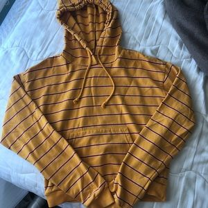Pacsun yellow hoodie with red and white stripes